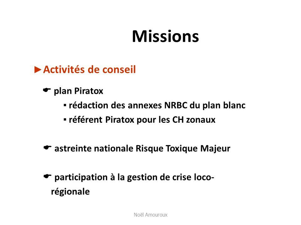 Missions Activités de conseil plan Piratox rédaction des annexes NRBC du plan blanc référent Piratox pour les CH zonaux astreinte nationale Risque Tox