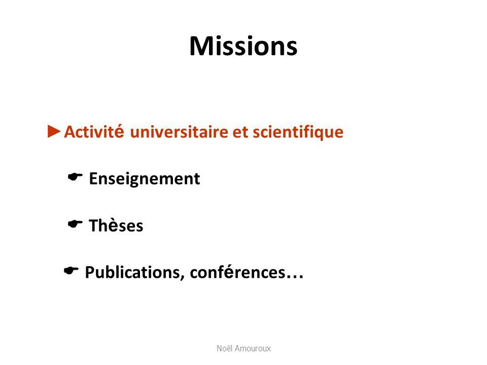 Missions Activit é universitaire et scientifique Enseignement Th è ses Publications, conf é rences … Noël Amouroux