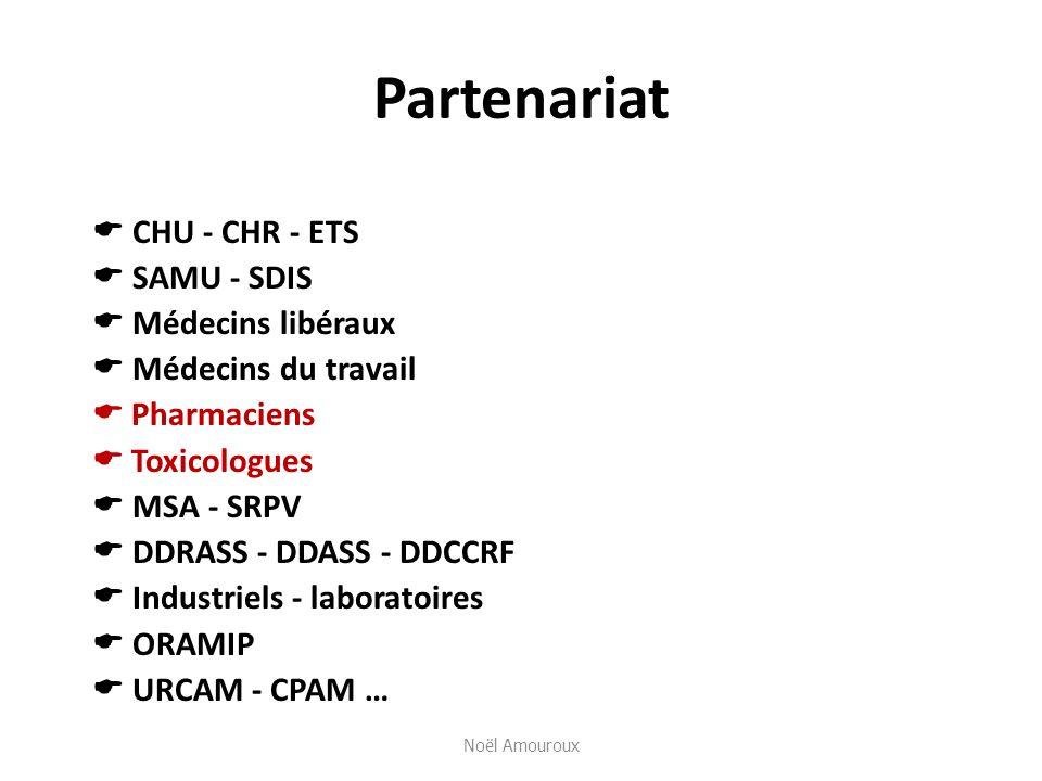 Partenariat CHU - CHR - ETS SAMU - SDIS Médecins libéraux Médecins du travail Pharmaciens Toxicologues MSA - SRPV DDRASS - DDASS - DDCCRF Industriels