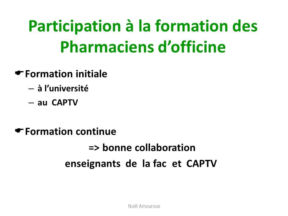 Participation à la formation des Pharmaciens dofficine Formation initiale – à luniversité – au CAPTV Formation continue => bonne collaboration enseign