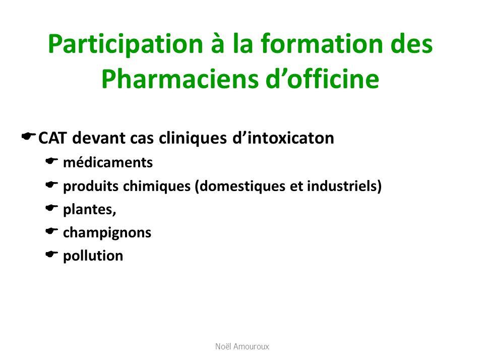 Participation à la formation des Pharmaciens dofficine CAT devant cas cliniques dintoxicaton médicaments produits chimiques (domestiques et industriel