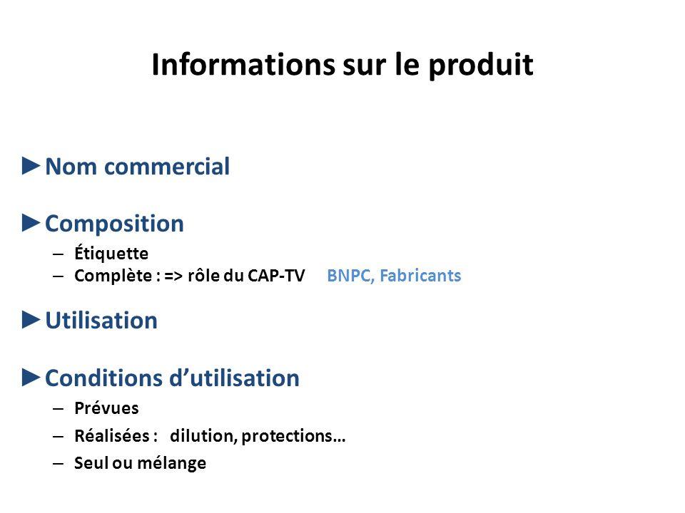Informations sur le produit Nom commercial Composition – Étiquette – Complète : => rôle du CAP-TV BNPC, Fabricants Utilisation Conditions dutilisation