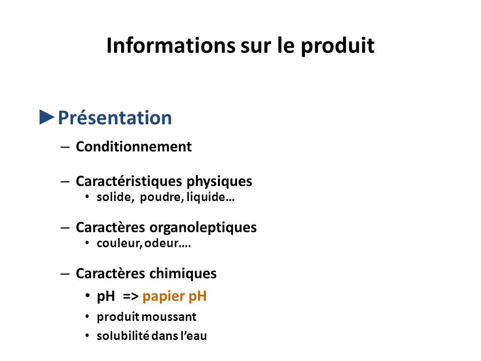 Informations sur le produit Présentation – Conditionnement – Caractéristiques physiques solide, poudre, liquide… – Caractères organoleptiques couleur,