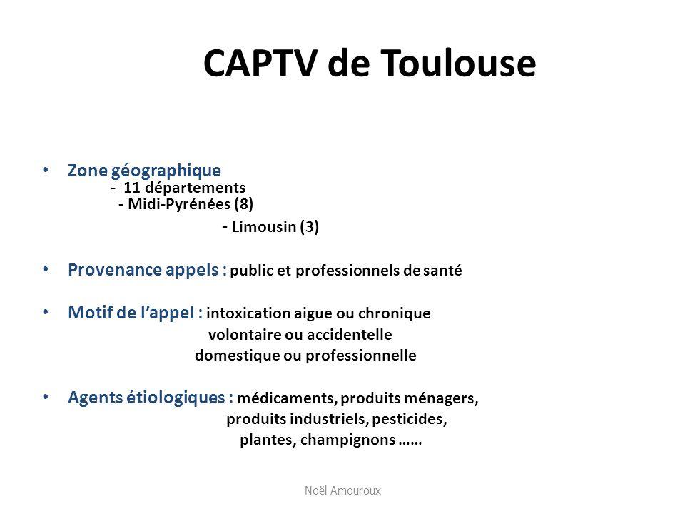 CAPTV de Toulouse Zone géographique - 11 départements - Midi-Pyrénées (8) - Limousin (3) Provenance appels : public et professionnels de santé Motif d