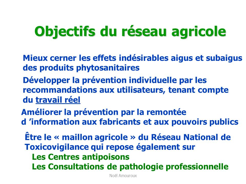 Objectifs du réseau agricole Mieux cerner les effets indésirables aigus et subaigus des produits phytosanitaires Développer la prévention individuelle