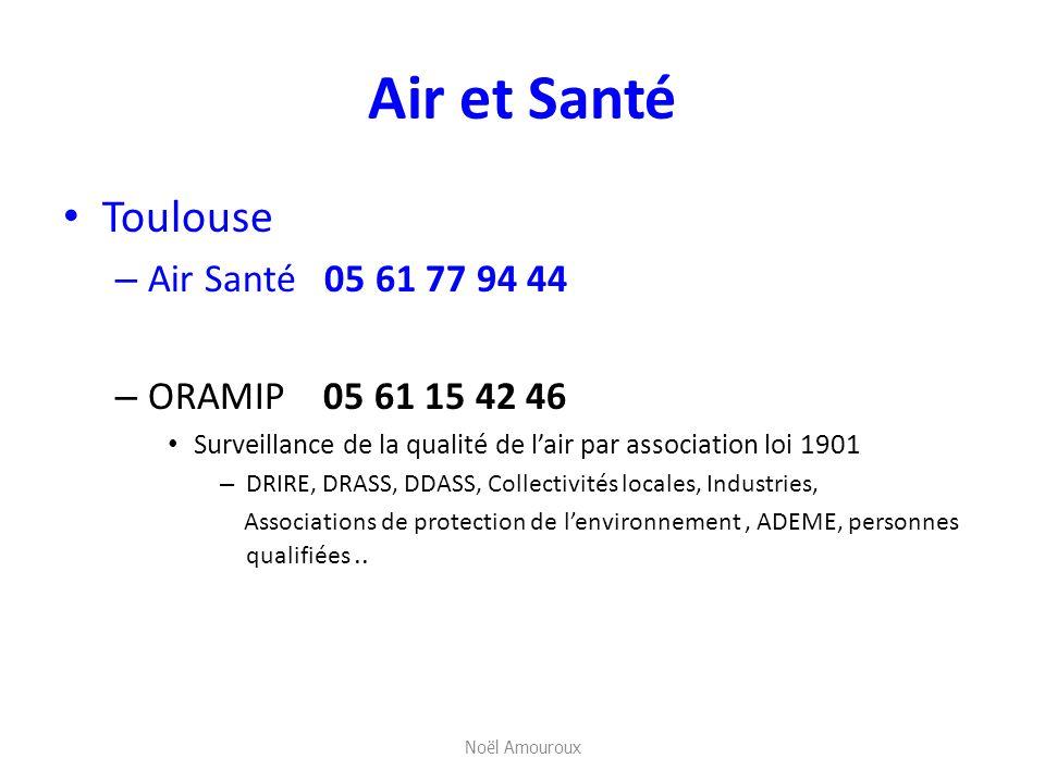 Air et Santé Toulouse – Air Santé 05 61 77 94 44 – ORAMIP 05 61 15 42 46 Surveillance de la qualité de lair par association loi 1901 – DRIRE, DRASS, D