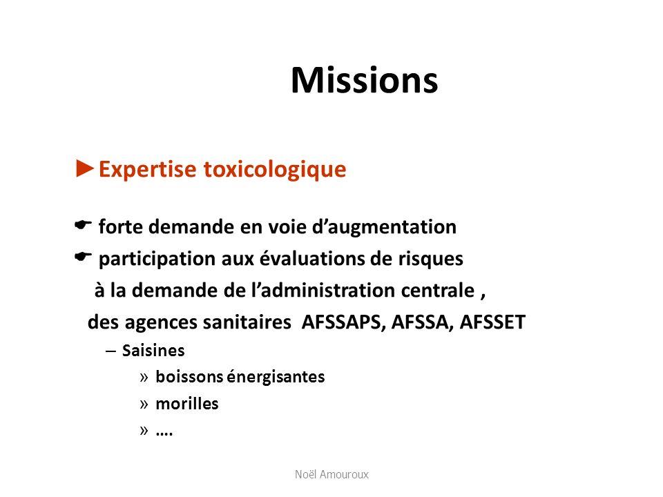 Missions Expertise toxicologique forte demande en voie daugmentation participation aux évaluations de risques à la demande de ladministration centrale
