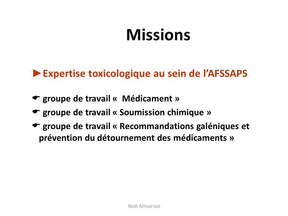 Missions Expertise toxicologique au sein de lAFSSAPS groupe de travail « Médicament » groupe de travail « Soumission chimique » groupe de travail « Re