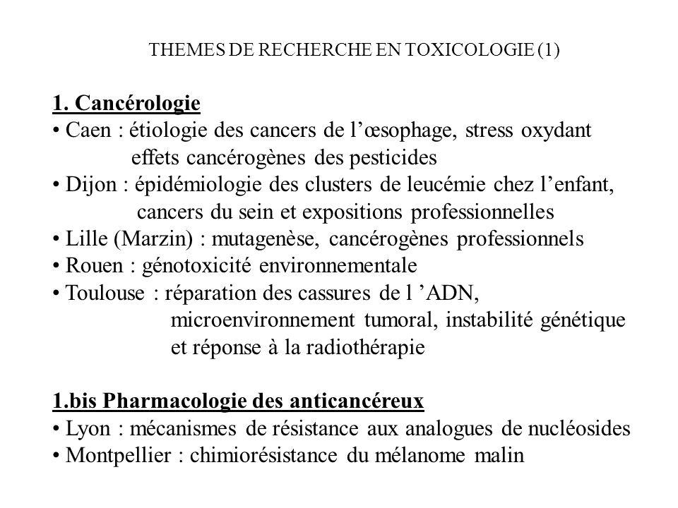 THEMES DE RECHERCHE EN TOXICOLOGIE (1) 1. Cancérologie Caen : étiologie des cancers de lœsophage, stress oxydant effets cancérogènes des pesticides Di