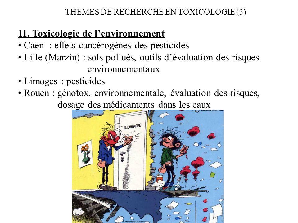 THEMES DE RECHERCHE EN TOXICOLOGIE (5) 11. Toxicologie de lenvironnement Caen : effets cancérogènes des pesticides Lille (Marzin) : sols pollués, outi