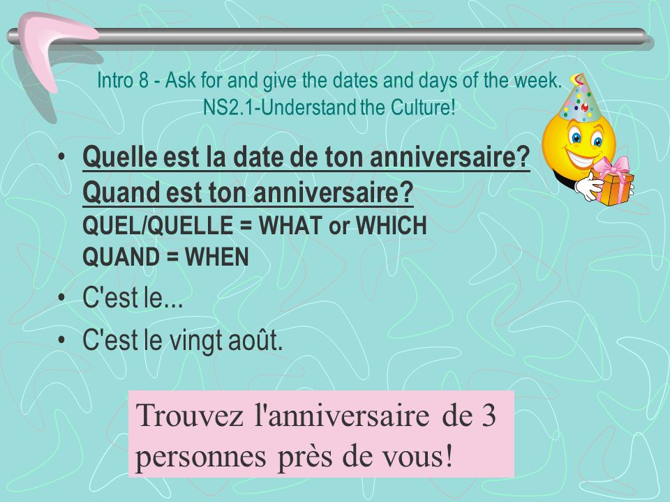 octobre dimanche 1 234 5 67 8910 11 12 13 1415 161718 19 2021 222324 25 26 Intro 8 - Ask for and give the dates and days of the week.