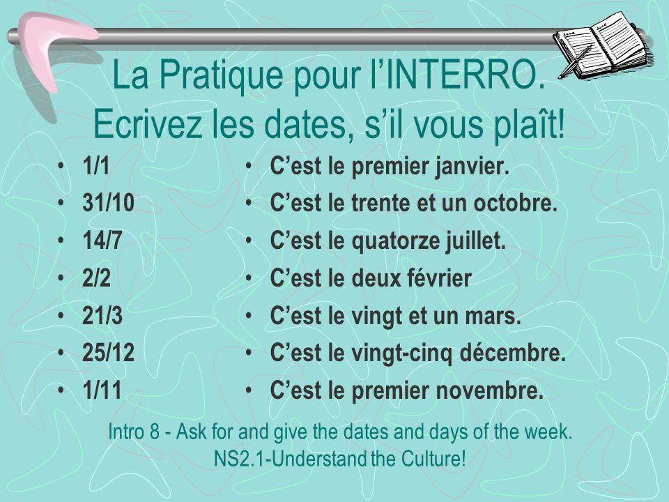 Les fêtes françaises 1/11 11/11 25/12 2/2 1/1 14/7 Le premier novembre. La Toussaint Le onze novembre. LArmistice Le vingt-cinq décembre. Noël Le deux