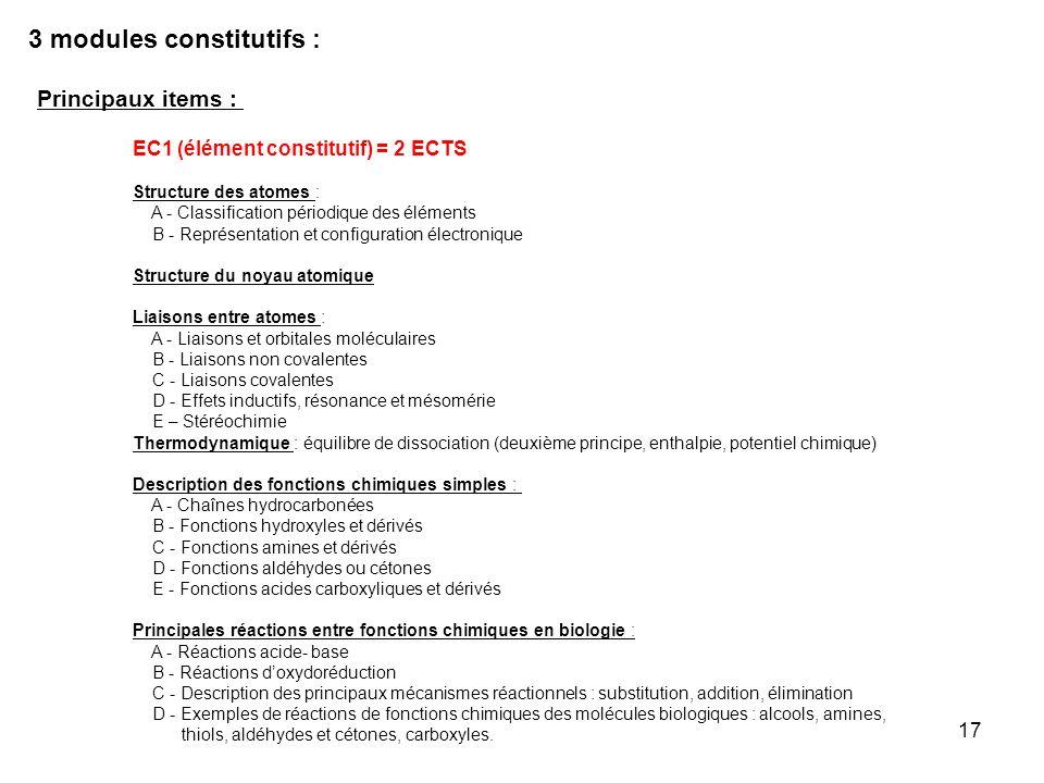 17 Principaux items : EC1 (élément constitutif) = 2 ECTS Structure des atomes : A - Classification périodique des éléments B - Représentation et confi