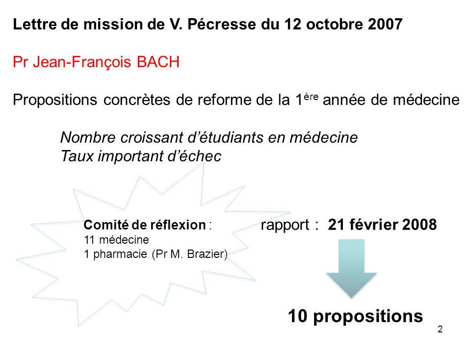 2 Lettre de mission de V. Pécresse du 12 octobre 2007 Pr Jean-François BACH Propositions concrètes de reforme de la 1 ère année de médecine Nombre cro