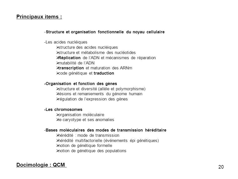 20 Principaux items : -Structure et organisation fonctionnelle du noyau cellulaire -Les acides nucléiques structure des acides nucléiques structure et