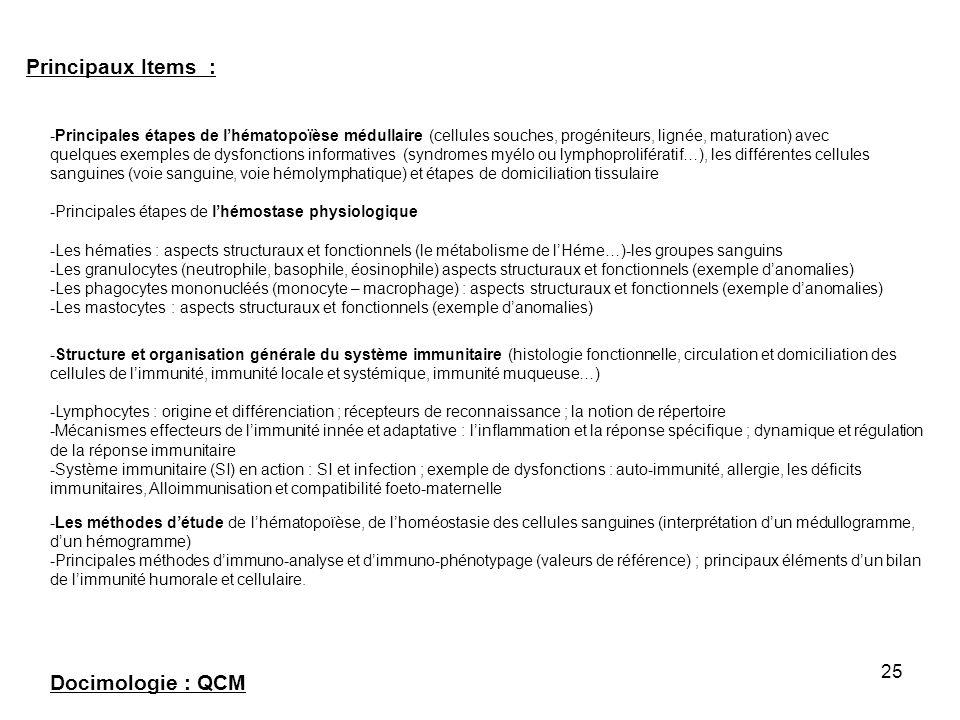 25 Principaux Items : -Structure et organisation générale du système immunitaire (histologie fonctionnelle, circulation et domiciliation des cellules