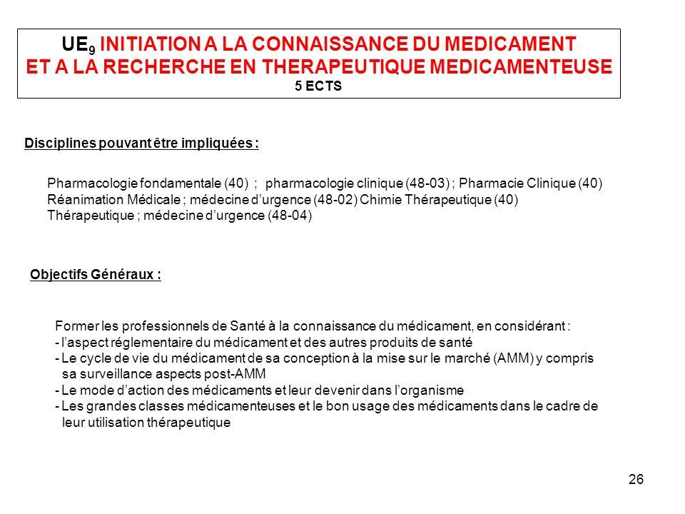 26 UE 9 INITIATION A LA CONNAISSANCE DU MEDICAMENT ET A LA RECHERCHE EN THERAPEUTIQUE MEDICAMENTEUSE 5 ECTS Disciplines pouvant être impliquées : Phar