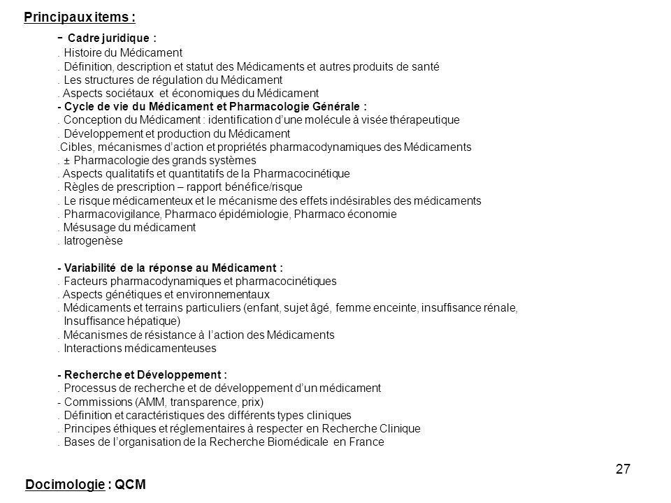 27 Principaux items : - Cadre juridique :. Histoire du Médicament. Définition, description et statut des Médicaments et autres produits de santé. Les