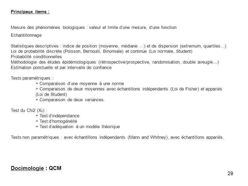 29 Principaux items : Mesure des phénomènes biologiques : valeur et limite dune mesure, dune fonction Echantillonnage Statistiques descriptives : indi
