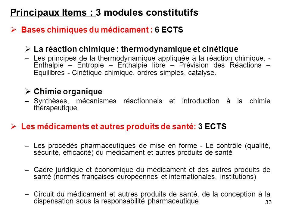 33 Principaux Items : 3 modules constitutifs Bases chimiques du médicament : 6 ECTS La réaction chimique : thermodynamique et cinétique –Les principes