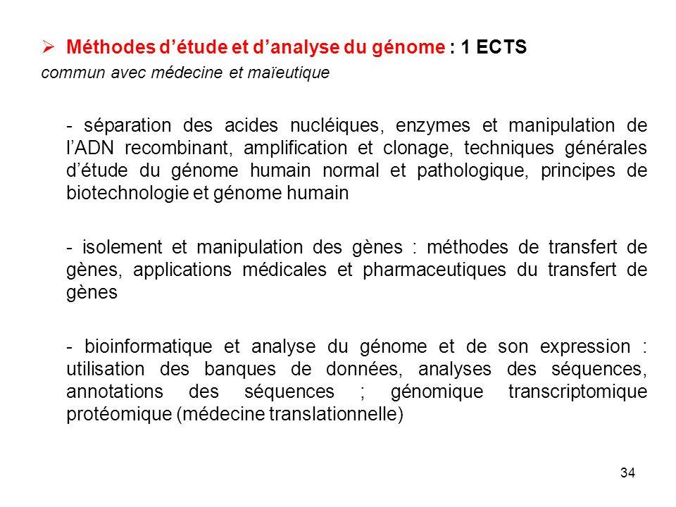 34 Méthodes détude et danalyse du génome : 1 ECTS commun avec médecine et maïeutique - séparation des acides nucléiques, enzymes et manipulation de lA