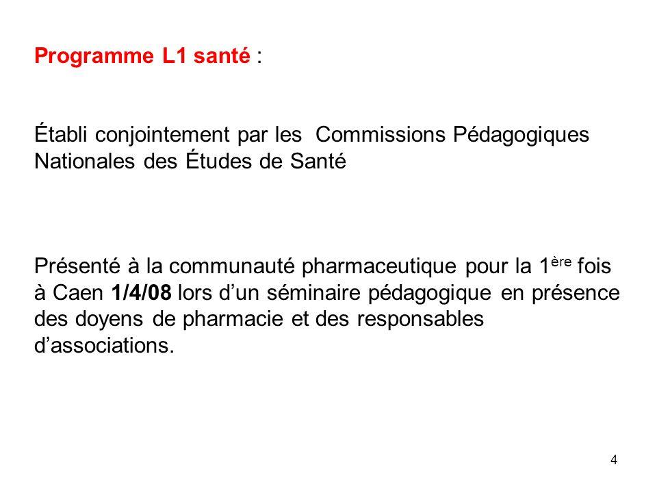 4 Programme L1 santé : Établi conjointement par les Commissions Pédagogiques Nationales des Études de Santé Présenté à la communauté pharmaceutique po
