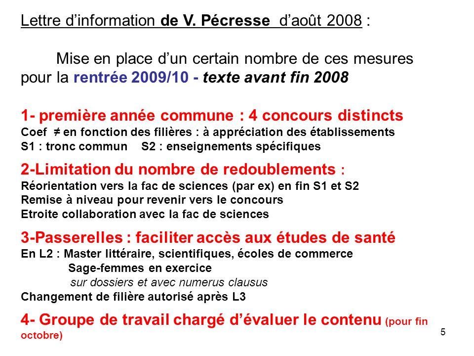 5 Lettre dinformation de V. Pécresse daoût 2008 : Mise en place dun certain nombre de ces mesures pour la rentrée 2009/10 - texte avant fin 2008 1- pr