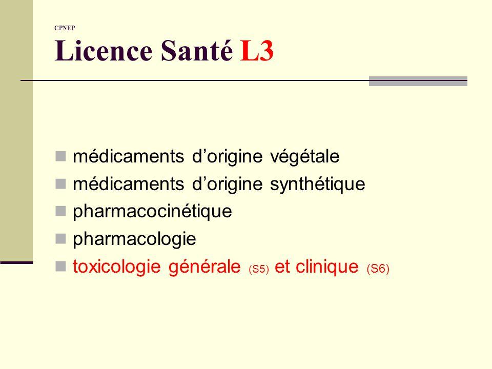 CPNEP Licence Santé L3 médicaments dorigine végétale médicaments dorigine synthétique pharmacocinétique pharmacologie toxicologie générale (S5) et cli