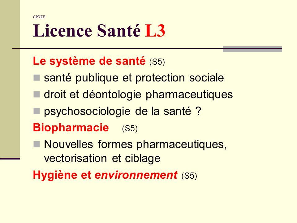 CPNEP Licence Santé L3 Le système de santé (S5) santé publique et protection sociale droit et déontologie pharmaceutiques psychosociologie de la santé