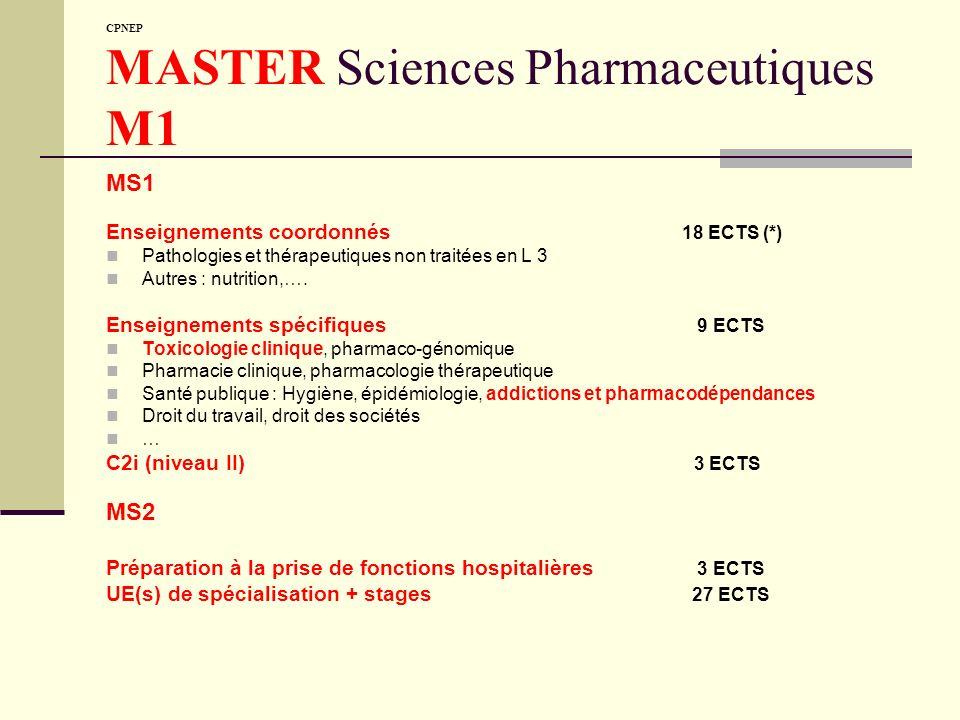 CPNEP MASTER Sciences Pharmaceutiques M1 MS1 Enseignements coordonnés 18 ECTS (*) Pathologies et thérapeutiques non traitées en L 3 Autres : nutrition