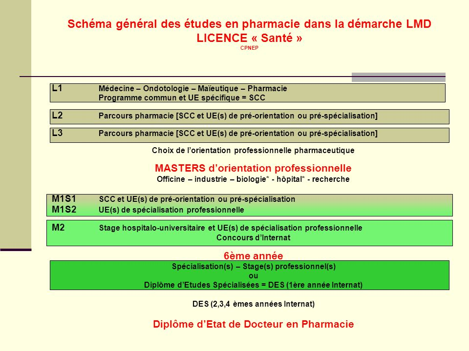 Schéma général des études en pharmacie dans la démarche LMD LICENCE « Santé » CPNEP L1 Médecine – Ondotologie – Maïeutique – Pharmacie Programme commu