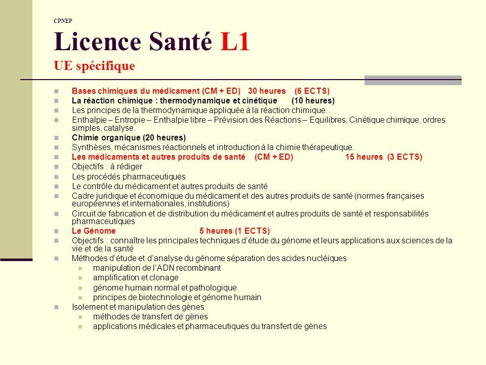 CPNEP Licence Santé L1 UE spécifique Bases chimiques du médicament (CM + ED)30 heures (6 ECTS) La réaction chimique : thermodynamique et cinétique (10