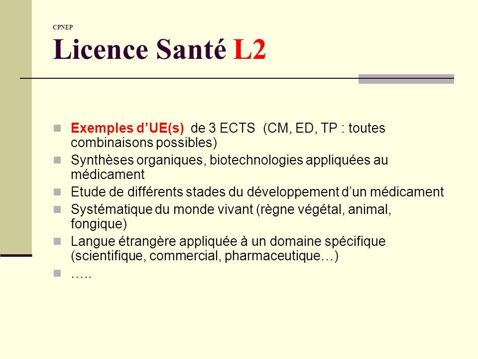 CPNEP Licence Santé L2 Exemples dUE(s) de 3 ECTS (CM, ED, TP : toutes combinaisons possibles) Synthèses organiques, biotechnologies appliquées au médi