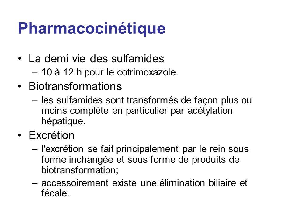 Pharmacocinétique La demi vie des sulfamides –10 à 12 h pour le cotrimoxazole. Biotransformations –les sulfamides sont transformés de façon plus ou mo
