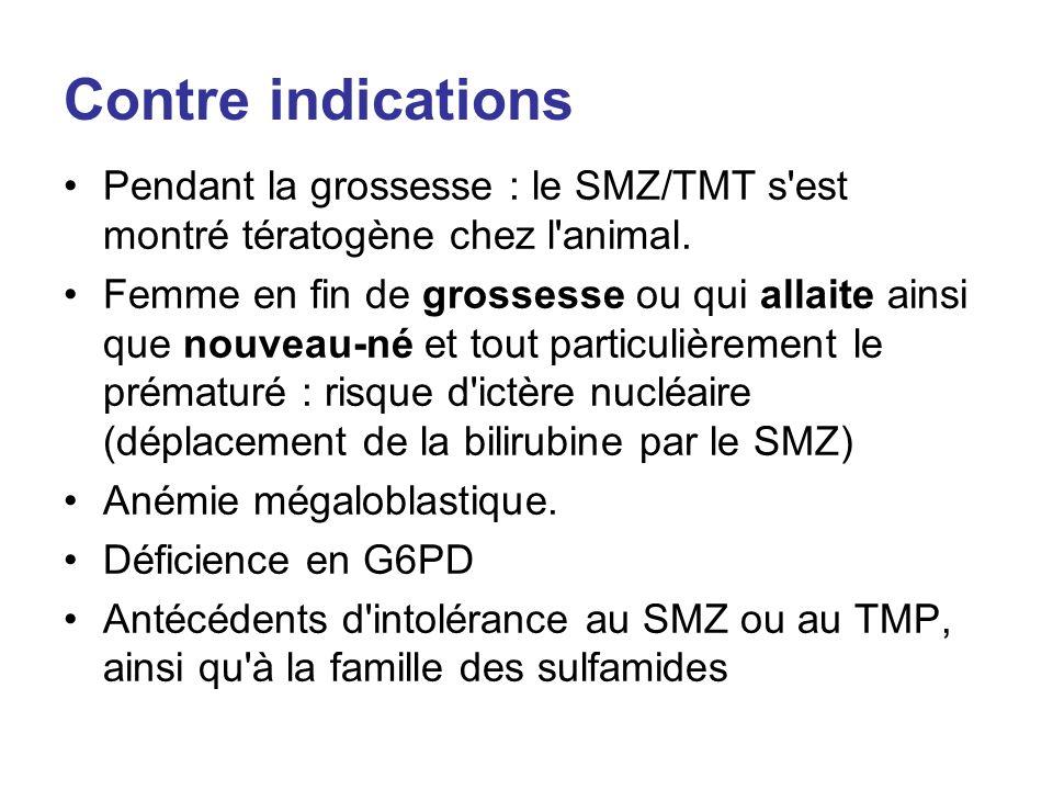 Contre indications Pendant la grossesse : le SMZ/TMT s'est montré tératogène chez l'animal. Femme en fin de grossesse ou qui allaite ainsi que nouveau