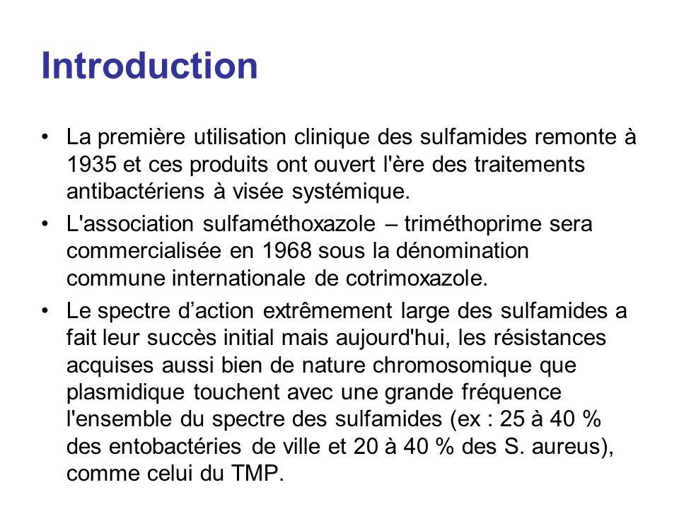 Introduction La première utilisation clinique des sulfamides remonte à 1935 et ces produits ont ouvert l'ère des traitements antibactériens à visée sy