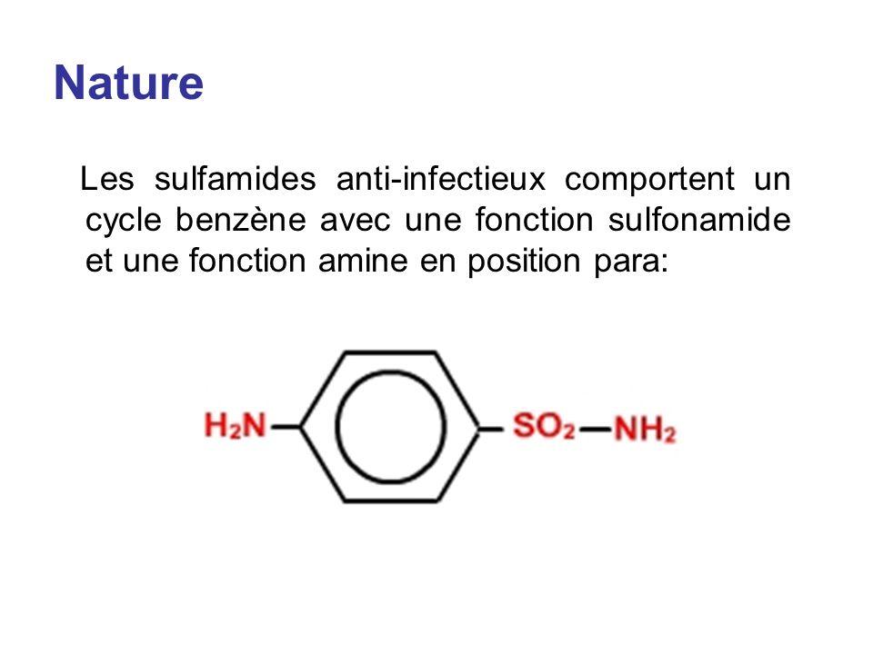 Nature Les sulfamides anti-infectieux comportent un cycle benzène avec une fonction sulfonamide et une fonction amine en position para: