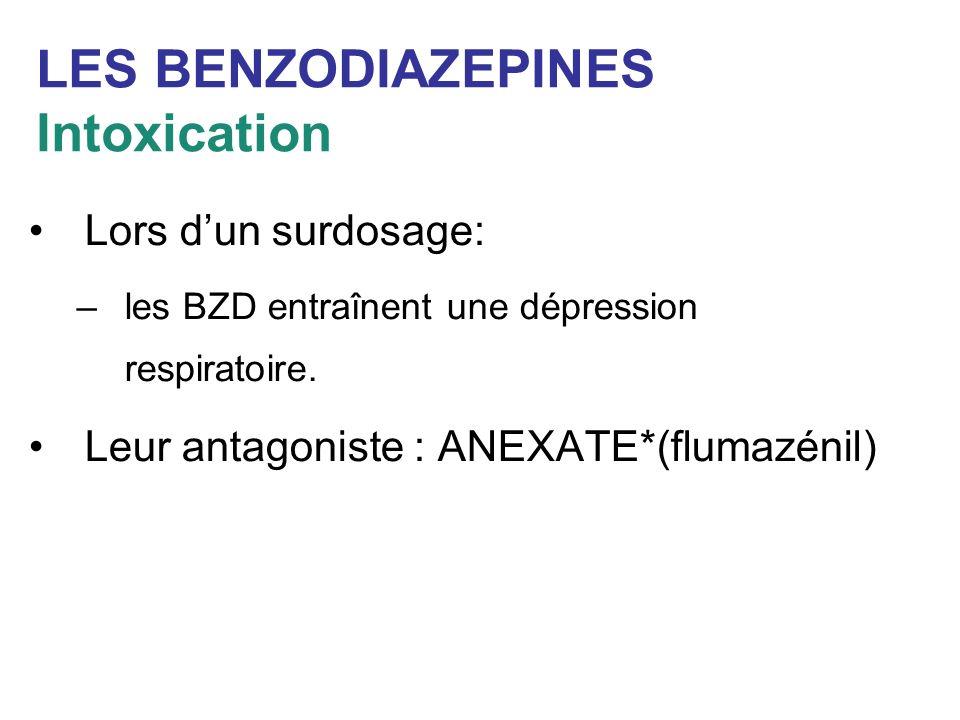 LES BENZODIAZEPINES Intoxication Lors dun surdosage: –les BZD entraînent une dépression respiratoire. Leur antagoniste : ANEXATE*(flumazénil)