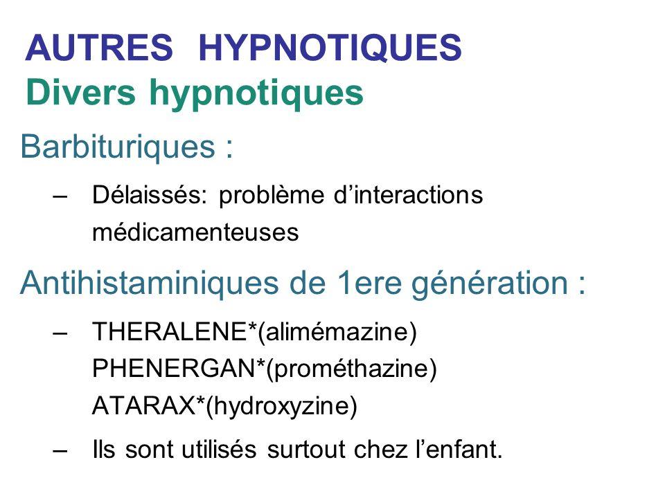 AUTRES HYPNOTIQUES Divers hypnotiques Barbituriques : –Délaissés: problème dinteractions médicamenteuses Antihistaminiques de 1ere génération : –THERA