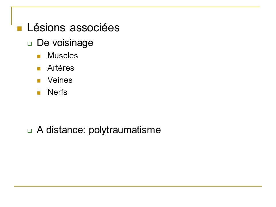 Lésions associées De voisinage Muscles Artères Veines Nerfs A distance: polytraumatisme