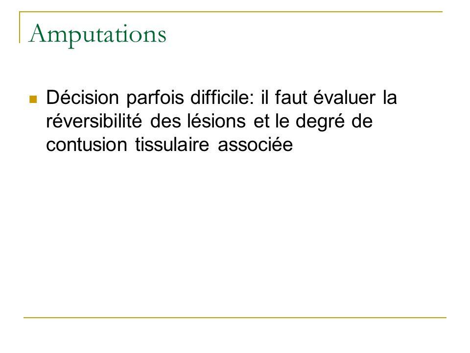 Amputations Décision parfois difficile: il faut évaluer la réversibilité des lésions et le degré de contusion tissulaire associée