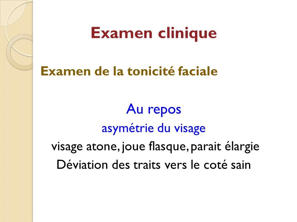 Examen clinique Examen de la tonicité faciale Au repos asymétrie du visage visage atone, joue flasque, parait élargie Déviation des traits vers le cot