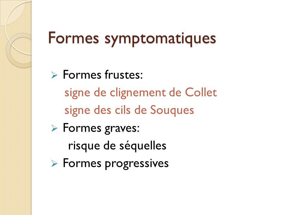 Formes symptomatiques Formes frustes: signe de clignement de Collet signe des cils de Souques Formes graves: risque de séquelles Formes progressives