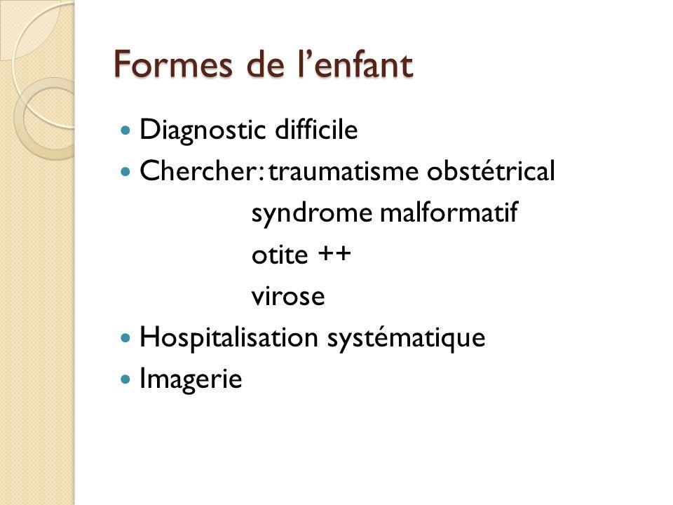 Formes de lenfant Diagnostic difficile Chercher: traumatisme obstétrical syndrome malformatif otite ++ virose Hospitalisation systématique Imagerie