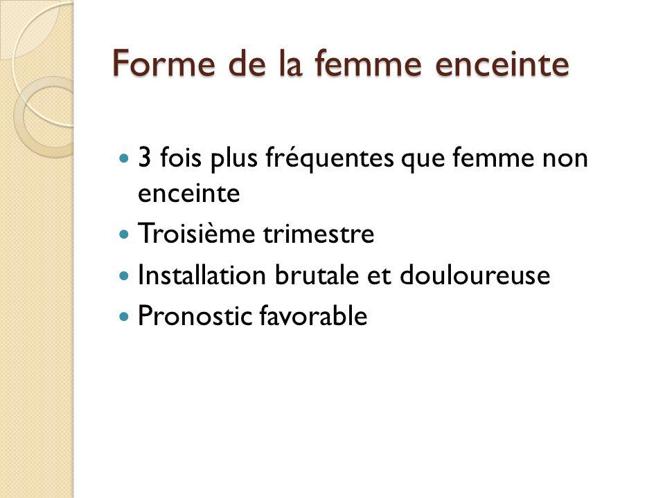 Forme de la femme enceinte 3 fois plus fréquentes que femme non enceinte Troisième trimestre Installation brutale et douloureuse Pronostic favorable