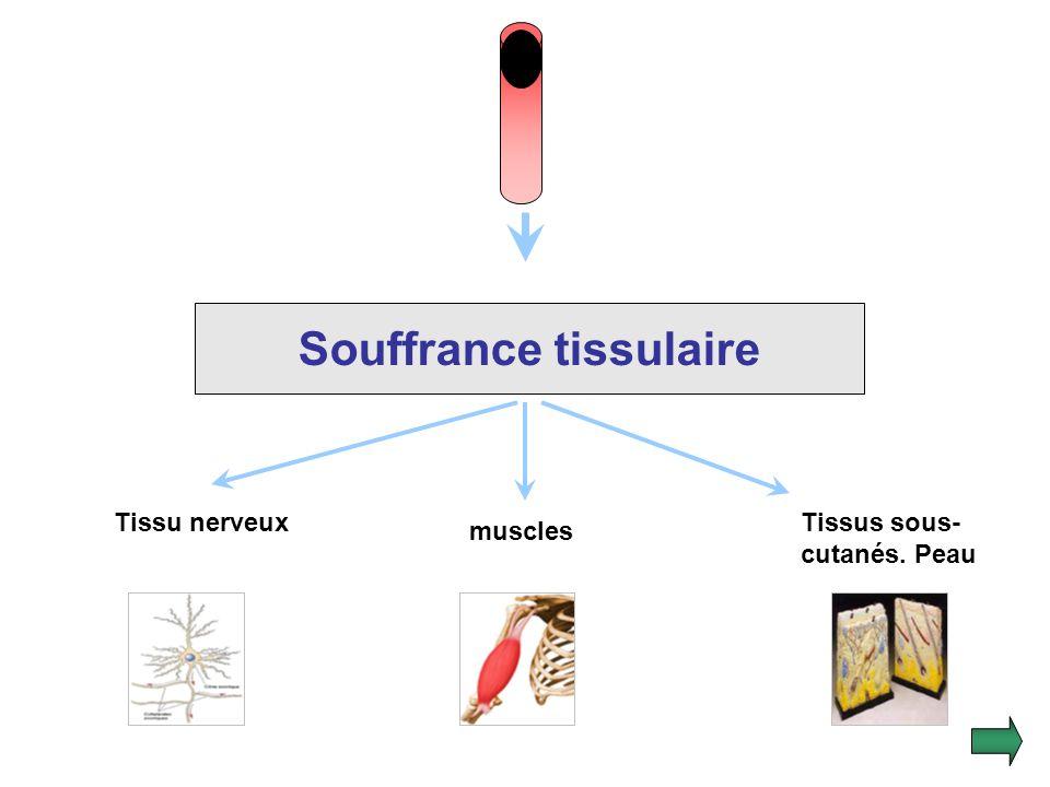 2.Conséquences tissulaires : La chute du débit sanguin et de lapport doxygène produit des lésions tissulaires hypoxiques rapidement irréversibles. La