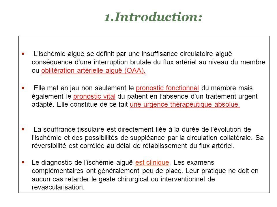 Expliquer les mécanismes étio-pathogéniques aboutissant à une ischémie aiguë dun membre Expliquer les conséquences physiopathologiques de linterruptio