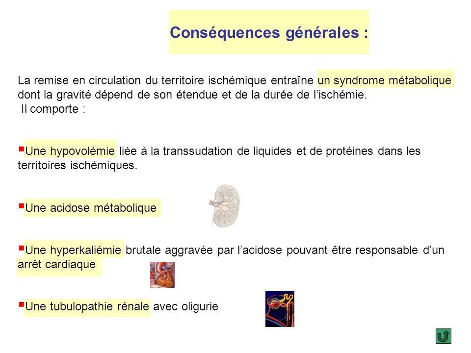 Conséquences locales : Apparition dun œdème par altération de la membrane capillaire. Cet œdème est responsable dune augmentation de pression dans les