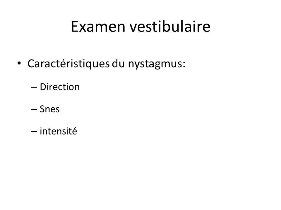 Examen vestibulaire Caractéristiques du nystagmus: – Direction – Snes – intensité