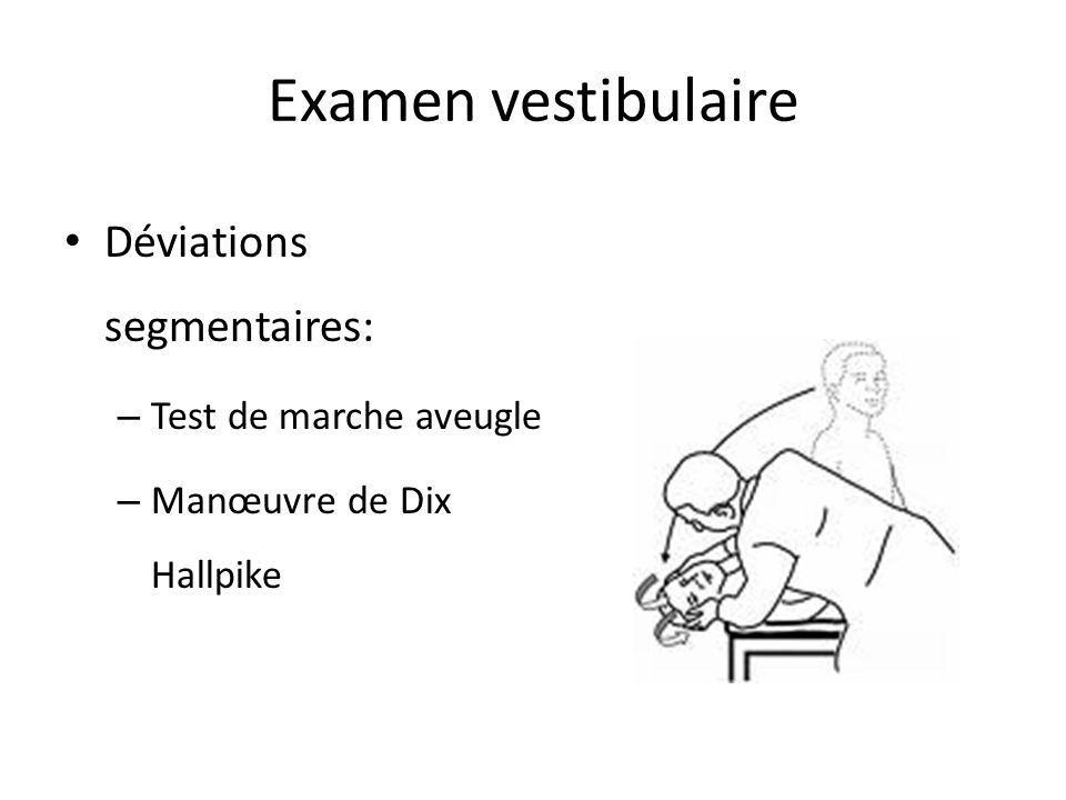 Examen vestibulaire Déviations segmentaires: – Test de marche aveugle – Manœuvre de Dix Hallpike